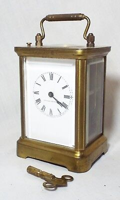 Old Antique WATERBURY CLOCK CO. Brass & Beveled Glass Repeater CARRIAGE CLOCK
