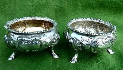 EARLY VICTORIAN CRESTED OPEN SALTS BY DANIEL & CHARLES HOULE -LONDON 1856- 5.9oz