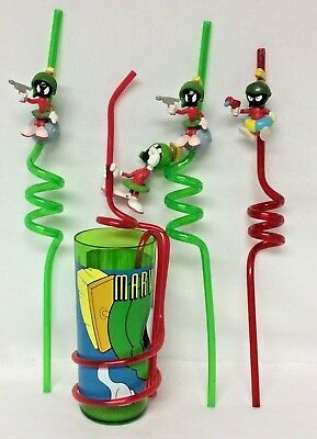 (3) Marvin the Martian ACTION Curly Drinking Straw+1 Cup w/ Straw - Looney Tunes