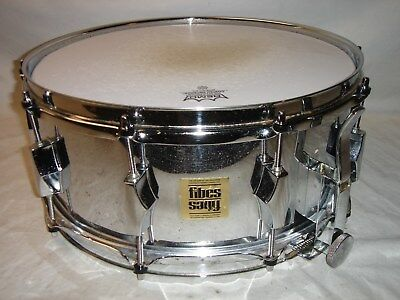"Outstanding Vintage 1972 FIBES 6 X 14"" Chrome / Fiberglass SFT-690 Snare Drum"