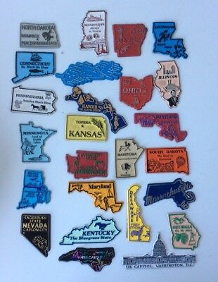 Vintage Mixed Lot Of 25 State Refrigerator Fridge Rubber Magnets