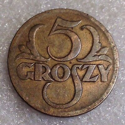 Poland 5 Groszy 1923 Brass First Year of the Issue
