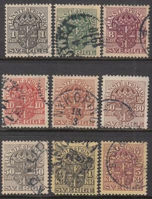 Sweden Officials #O28//40 1910 wmk 180 crown 9 diff used stamps cv $22.50