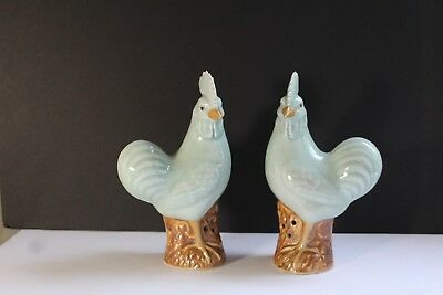 Pair (2) Antique 19thC Chinese Celadon Porcelain Rooster Figurines