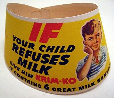 Old 1948 Krim-Ko Adv Milk Bottle Neck Sign + Dairy Home Delivery Order Form