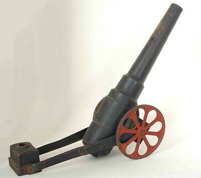 "Large Early Antique Cast Iron Signal Toy Cannon 15"" Barrel Red Wheels Unmarked"