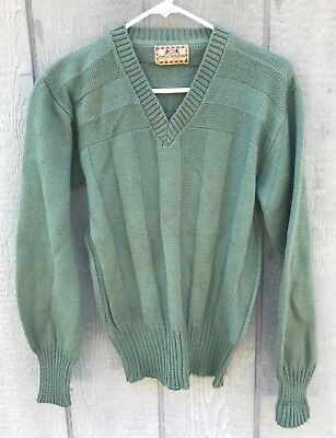 Vintage 1930's 1940's CAMPUS - SWEATERS V-Neck Long Ribbed Wool Sweater Medium