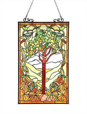 "Window Panel Tree Of Hope Design 20"" W X 32"" L Tiffany Style Stained Cut Glass"