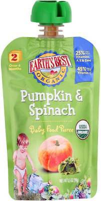 Earth'S Best Organic Pumpkin Spinach Baby Food Puree Stage 2 3.5 Oz. Pack of 6