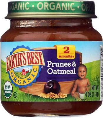 Earth'S Best Organic Prunes And Oatmeal Baby Food Stage 2 4 Oz. Pack of 12