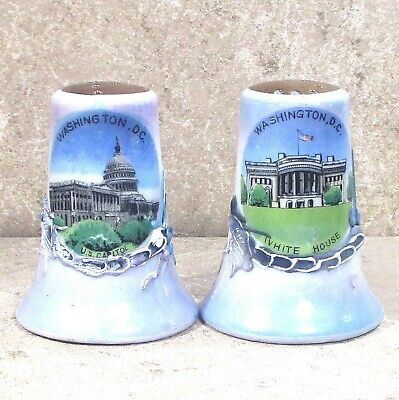 "Salt & Pepper china HISTORICAL MONUMENTS  White House Capitol Japan 2.5"" ᵛ"