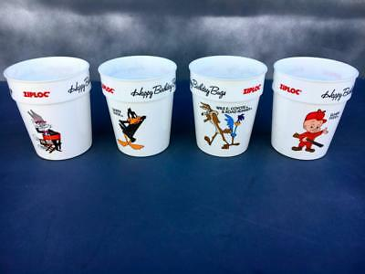 Bugs Bunny 50th Warner Bros Happy Birthday Ziploc 1989 Promotional Cup Set of 4.