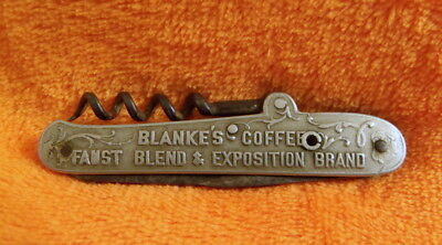 Blanke's Coffee - Faust Blend & Exposition Label - Rare Advertising Pocket Knife