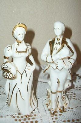 Vintage Chic French Couple Figurines White Gilt Shabby Japan ? Hollywood Regency