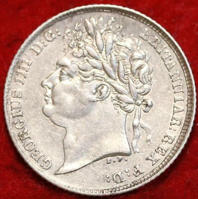 1825 Great Britain 6 Pence Silver Foreign Coin