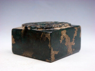 Old Nephrite Jade Stone Seal Paperweight Sculpture Monster & Coins Top #02161811