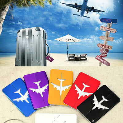 1pc Luggage Tag Aluminum Air Plane Travel Suitcase Name Address ID Label Holder