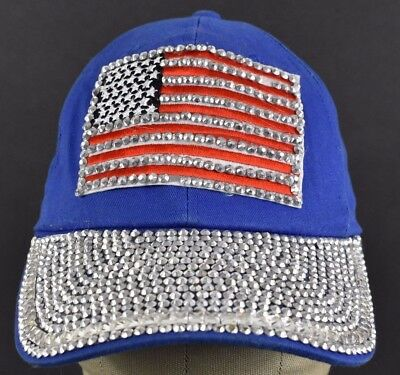 309c7f3fd31d6 Blue USA American Flag Rhinestones Embroidered Baseball hat cap Adjustable  Strap