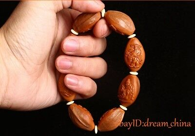 Collectable Chinese Handwork Carving Olive 8 Beads Eight Immortals Bracelet