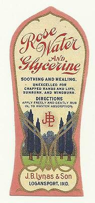 Dr. J. B. Lynas & Son Rose Water and Glycerine Bottle Label Logansport, Indiana