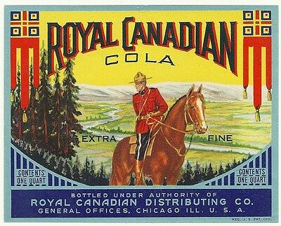 Royal Canadian Cola Soda Label Royal Canadian Distributing Co. Chicago, Illinois
