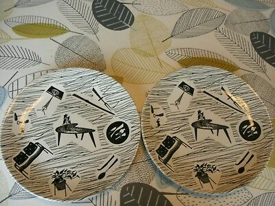 "two ridgway mid century homemaker design 8"" plates designed by enid seeney"