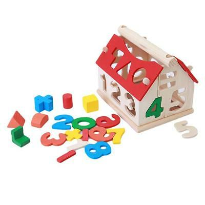 Wooden Number House Building Blocks for Children Kids Early Educational Toys LC