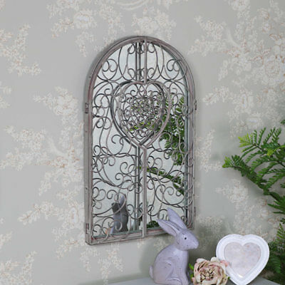 Ornate antique white shutter style wall mirror shabby vintage chic room garden