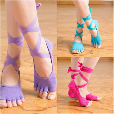 Gym Yoga Sports Non-Slip Bandage Pilates Ankle Grip 5-Toe Massage Socks 4 Colors