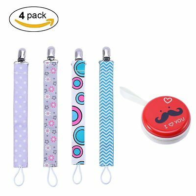 4 Pcs Universal Pacifier Clip & Pacifier Case Holder Leash Strap Gift for Baby