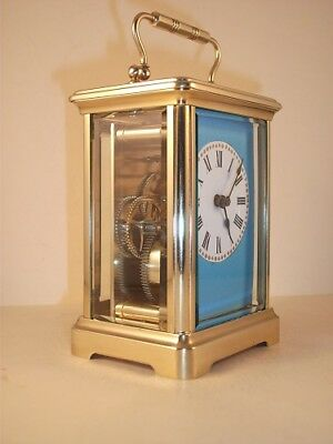 Antique Brass Carriage Clock With Masked Dial. Key.  Full Service May 2018.