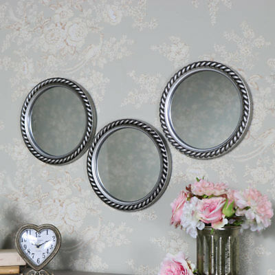 Set 3 round silver circle wall mirrors rope effect shabby vintage chic display