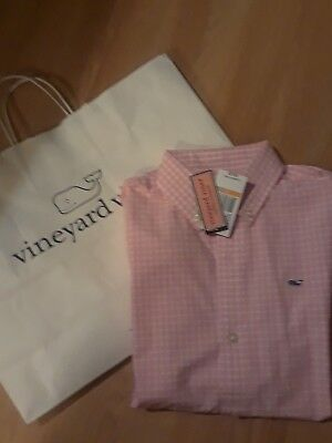 Boys Vineyard Vines Whale Shirt, Seabroook Gingham, Conch, Size Small 8-10, New!