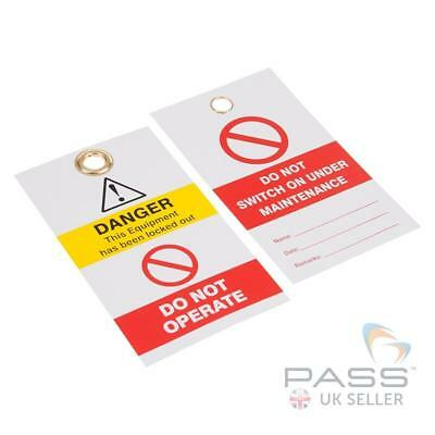 Lockout Tagout Tags - 'Do Not Switch On Under Maintenance' - Pack of 10