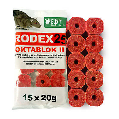 Elixir Gardens Rodex 25 Oktablok Rat & Mouse Poison/Killer Bait Blocks