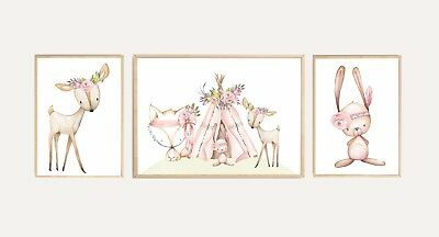 Nursery Wall Art Prints Woodland Boho floral baby girl decor set of three