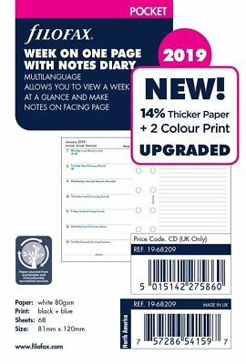 Filofax Pocket Size 2019 Week Per Page & Notes Diary Refill Insert 19-68209