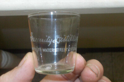 "Chicago Security Distilling Co Etched Pre Pro Whiskey Shot Glass Small 2""size"
