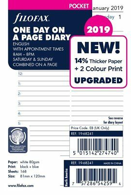 Filofax 2019 Pocket size Diary One Day on a Page Insert Refill 19-68241