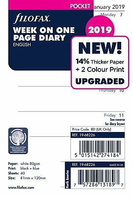 Filofax Pocket Size 2019  Week Per Page White Diary Insert Refill 19-68226