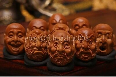 Collectable Chinese Handwork Carving Olive 10 Beads of 18 Arhats Bracelet