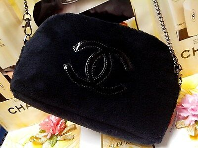 Black Velvet Chanel beauty VIP Bag CC Patent Pouch☾*Gift / Fashion* ~ FREE POST☽