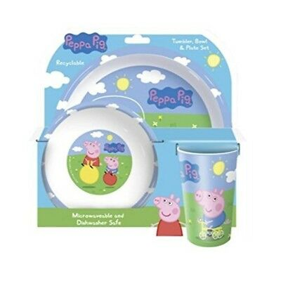 Peppa Pig And George Tumbler, Bowl And Plate Set - Piece Dinner Tableware