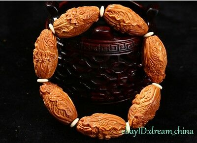 Collectable Chinese Handwork Carving Olive 7 Beads of Chinese cabbage Bracelet