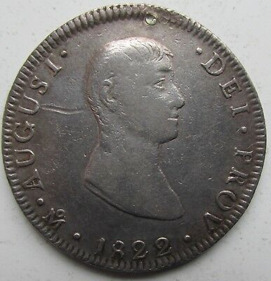 Mexico Empire of Iturbide 1822-MoJM 8 Reales Scarce Small Bust Type