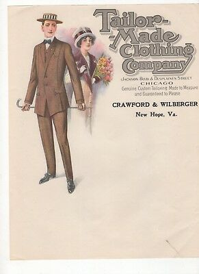 Beautiful, Color, Vintage Clothing Company Letterhead