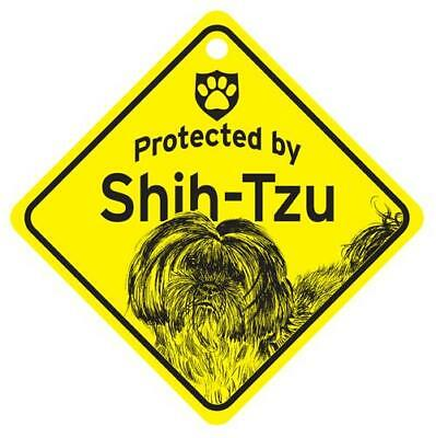 Protected by Shih Tzu  Puppy Dog Window Sign Made USA