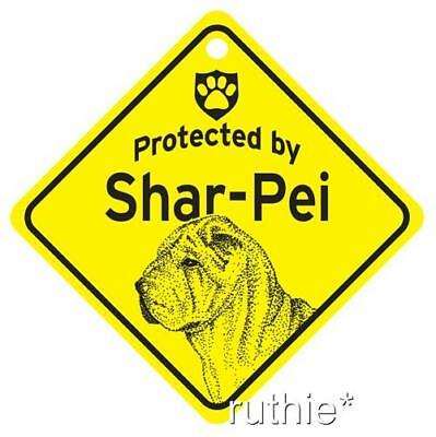 Protected by Shar-Pei Dog Window Sign Made in USA