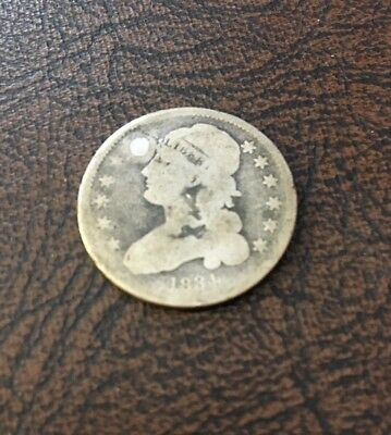 1834 25C Bust Quarter, Good Condition, Has A Filled Whole At 11:00, Scarce