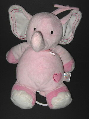 Carters Just One Year Musical Pink Elephant Heart Crib Toy Twinkle Little Star